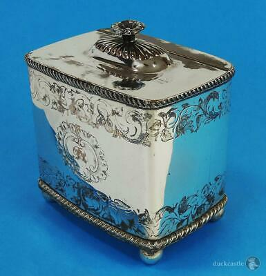 Decorative LARGE GEORGE IV OLD SHEFFIELD PLATE Footed TEA CADDY Floral c1820
