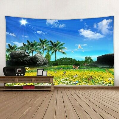 Cottage Above Blue Sky Palm Tree Tropical Scenery Print Fabric Wall Tapestry