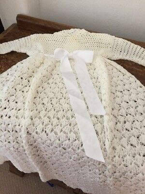Vintage/Hand Knit/Crochet/Christening Gown Robe/+ Shawl/Irish/1960/70s