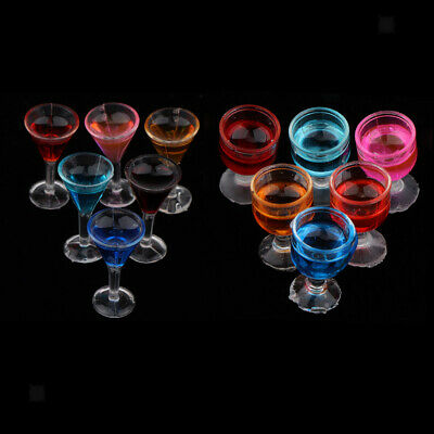 12 Pieces Plastic Cocktail Glasses for 1/12 Dollhouse Kitchen Bar Accessory