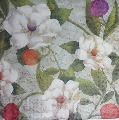 4 x Single Paper Napkins for Decoupage and Crafting White Flowers 39