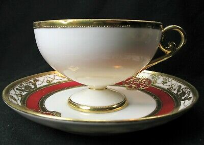 Noritake Nippon RC Royal Crockery Red & Gold Footed Teacup Saucer Set pre 1921