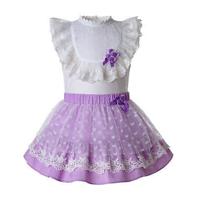 Infant Baby Girls Spanish Blouse+Skirt Set Birthday Princess Party Pageant