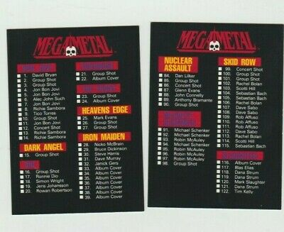 1991 Mega  Metal Single Cards Of Your Favorite Rock Stars .99 Each Ex