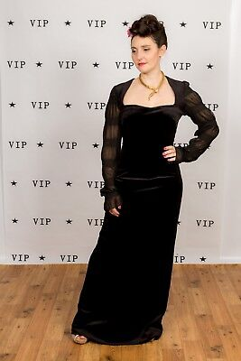 Beautiful vintage black velvet long evening gown cocktail Gothic Vamp pin-up