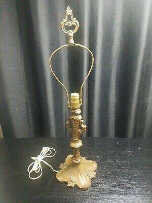 Antique Vintage Art Nouveau Flower Cast Iron Table Top Lamp Base