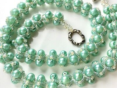 Vintage 50s Style Pale Green Glass Clustered Style Beaded Necklace - 21inch