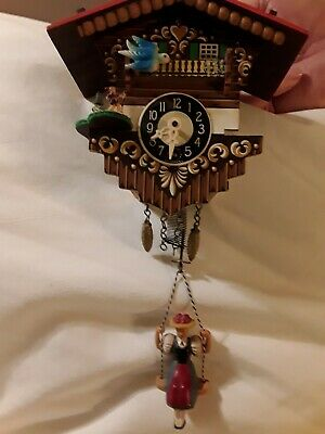 Vintage Wood Minature German Cuckoo clock Bouncing Girl Bird moves no key