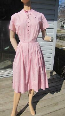 ddf0cd65df0f VTG 50S PINK Gingham Low Cut Pin Up Full Skirt Fitted Shelf Bust ...