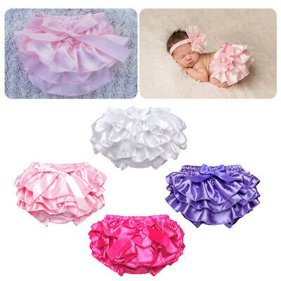 Newborn Baby Girl Shorts Soft Stain Ruffle Nappy Diaper Cover Bloomers Panties