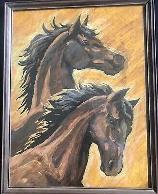 """Vintage Paint By Number Horses 11"""" X 14"""" With Original Frame And Glass"""
