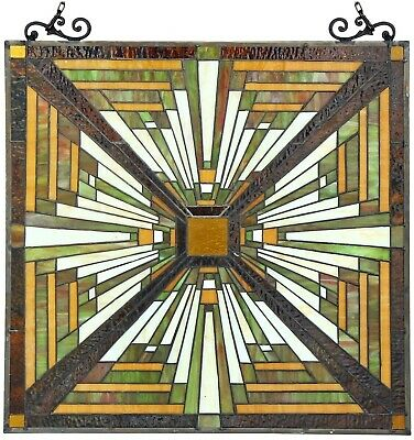 """25.5"""" x 24.4"""" Tunnel Mission Tiffany Style Stained Glass Window Panel with chain"""