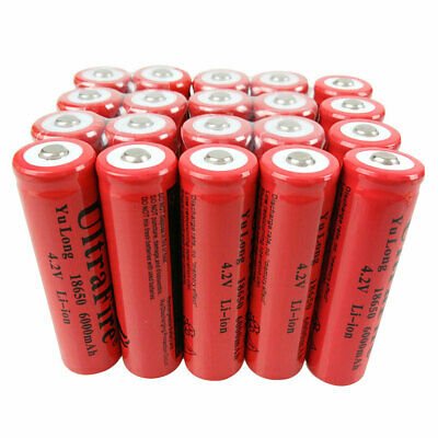 20X Battery 18650 6000mAh 3.7V-4.2V Li-Ion Rechargeable Batteries for Flashlight