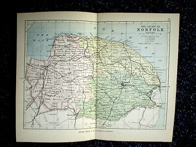 NORFOLK 1884, 9x7 inch Antique County Map by George Philip. 22x18cm