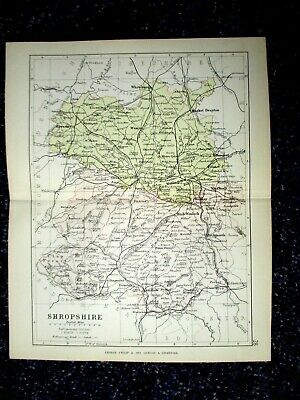 SHROPSHIRE 1884, 9x7 inch Antique County Map by George Philip. 22x18cm