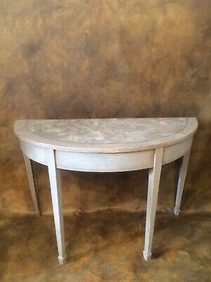 painted gustavian style antique Georgian mahogany demi lune side table