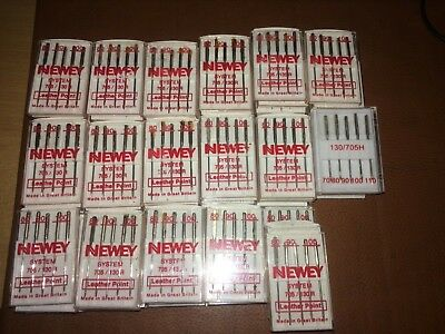 Job Lots 80 Newey Leather Point Sewing Machine Needles Mix Sizes Brother/Singer
