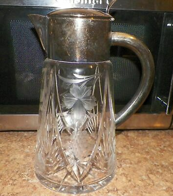 Silverplate WWII Germany Hand Cut Heavy Glass Water Pitcher