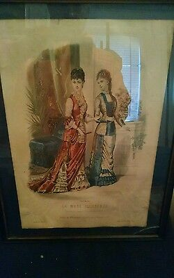 Vintage La Mode illustree Paris French Fashion Framed Print 13 x 17