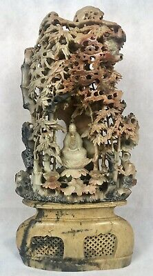 Large 19th/20th C. Chinese Qing Soapstone Buddha Carving w/ Bamboo & Stand, 18""