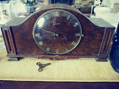 VINTAGE JUNGHANS MANTLE CLOCK with pendulum W278 movement and key works well