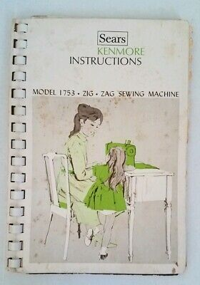 Vintage Sears Kenmore Instruction booklet For Model 1753 zig zag sewing machine
