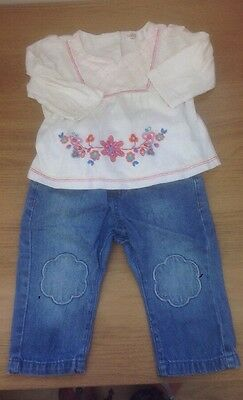 M&S Cute Cloud Jeans & M&co Top 6-9 Months Baby Girls Outfit Set