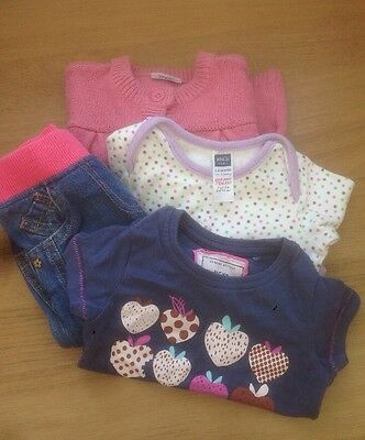 3-6 Months Baby Girls Clothes Bundle M&S Jeans, Next T-shirts, Cardigan Bodysuit