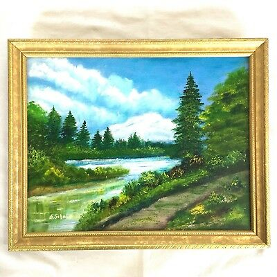 Vintage Oil Painting by Scholz Mountains Forest Landscape River Framed 15  x 12