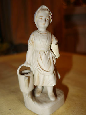 Bisque or Parian ware figurine of a young girl  - early 19th century - A/F