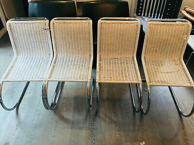 Mies van der Rohe MR cantilever dining chairs w/ painted wicker. Set of 4