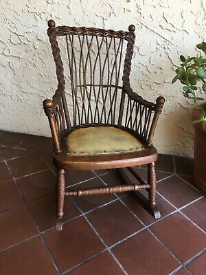 Antique Child's Wicker back Rocking Chair