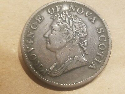 1832 Province of Nova Scotia Half Penny Token Coin Canadian Canada VERY FINE + !