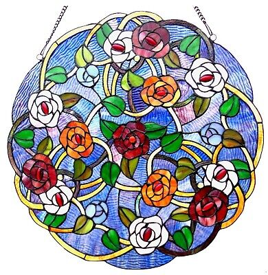 "24"" x 24"" Victorian Round Floral Tiffany Style Stained Glass Window Panel"