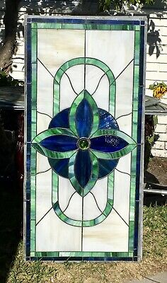 Vintage Art Nouveau Leaded Stained Glass Transom Window With Large Jewel