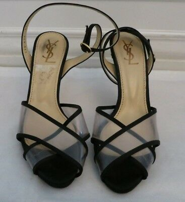 7e3a6ac756e YSL YVES SAINT LAURENT black satin and plastic high heel sandal size 38 us 8