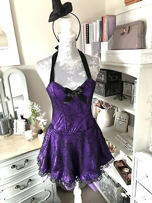 ANN SUMMERS WITCHES OUTFIT INCLUDES DRESS GLOVES HAT /& KNICKERS SIZE UK 14 NEW