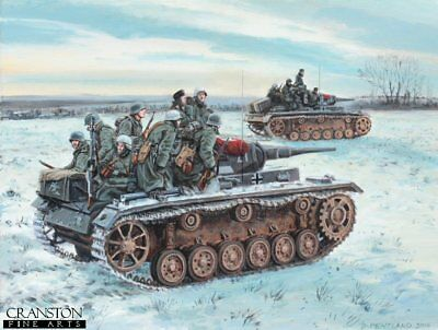 WW2 MILITARY ART Post Card German Panther tanks Panzer Division