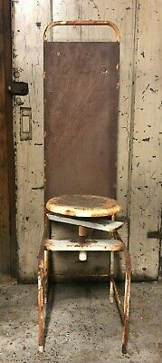 Metal Industrial Dentist Chair Swivel 1930's Medical Rusty Patina Adjustable Atq