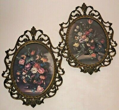Two 2 Vintage Ornate Oval Brass Picture Frames Curved Glass Front Made In Italy