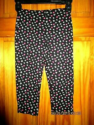TOTAL GIRL dark blue  capri leggings with gray and pink hearts,Sz L( 10/12) NEW