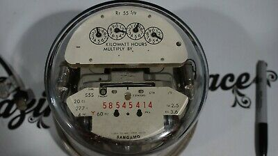 Sangamo Form 6S Watthour Meter Type S5S 4W Wye 3 Phase Analog Potential Light A