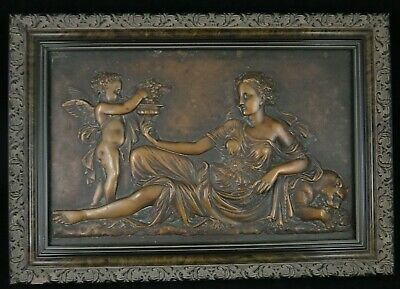 Antique French Copper-Alloy-Bronze Plaque. 19th c. Goddess Pax/Cupid ?
