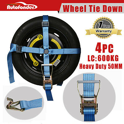 4* Wheel Tie Down Strap Car Carrying Ratchet Tie Down Trailer Wheel Harness Tow