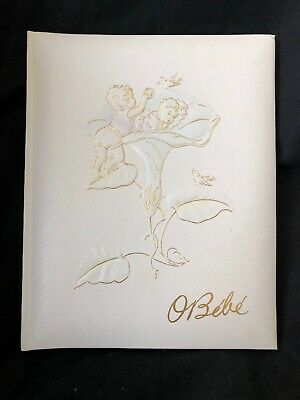 Vintage BABY Record BOOK Album Portugal Beautiful Lithographs Unused O BEBE