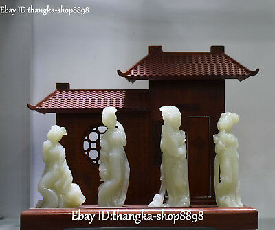 Noblest Natural Hetian Jade Carving Ancient Four Great Belle Beauties Statue
