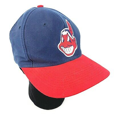 8cb061a8 Vtg Cleveland Indians MLB 90's Logo 7 Snapback Cap Hat Blue Red Chief Wahoo