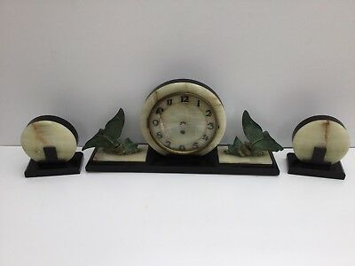 Mantle Clock And Garnitures Marble Art Deco
