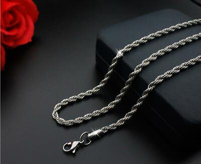 316L Stainless Steel Silver Twist Chain Necklace For Men/Women Gift 16-30''