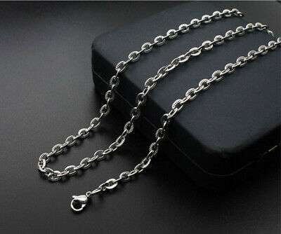 316L Stainless Steel Men Silver Chain Necklace Fashion Jewelry Charm Chain